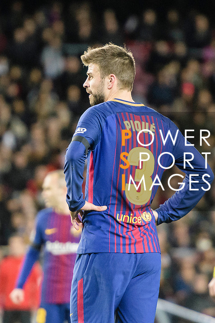 Gerard Pique of FC Barcelona reacts during the La Liga 2017-18 match between FC Barcelona and Deportivo La Coruna at Camp Nou Stadium on 17 December 2017 in Barcelona, Spain. Photo by Vicens Gimenez / Power Sport Images