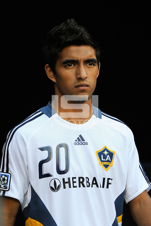A.J. DeLaGarza (20) of the Los Angeles Galaxy. The Los Angeles Galaxy defeated the New York Red Bulls 3-1 during a Major League Soccer match at Giants Stadium in East Rutherford, NJ, on July 16, 2009.