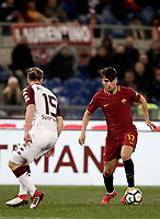 Calcio, Serie A: AS Roma - Torino Roma, stadio Olimpico, 9 marzo, 2018.<br /> Roma's Cengiz Under (l) in action with Torino's Cristian Ansaldi (r) during the Italian Serie A football match between AS Roma and Torino at Rome's Olympic stadium, 9 marzo, 2018.<br /> UPDATE IMAGES PRESS/Isabella Bonotto