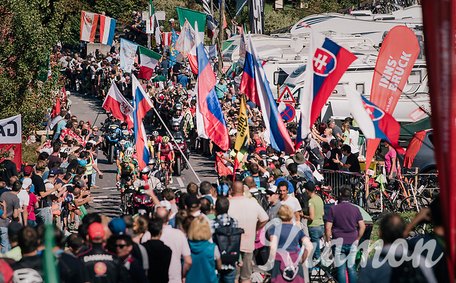 breakaway group cheered up the major climb<br /> <br /> MEN ELITE ROAD RACE<br /> Kufstein to Innsbruck: 258.5 km<br /> <br /> UCI 2018 Road World Championships<br /> Innsbruck - Tirol / Austria