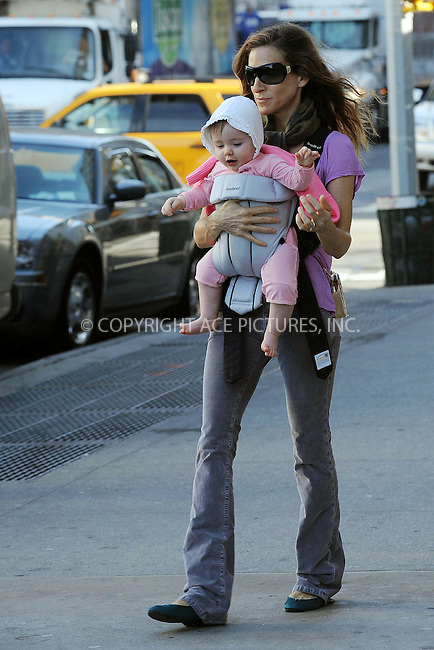 WWW.ACEPIXS.COM . . . . . ....April 7 2010, New York City....Actress Sarah Jessica Parker walks her son James to school in the West Village whilst carrying one her of new twins on April 7 2010 in New York City....Please byline: KRISTIN CALLAHAN - ACEPIXS.COM.. . . . . . ..Ace Pictures, Inc:  ..tel: (212) 243 8787 or (646) 769 0430..e-mail: info@acepixs.com..web: http://www.acepixs.com