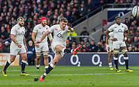 Owen Farrell takes a penalty kick, England v Ireland in a 6 Nations match at Twickenham Stadium, Whitton Road, Twickenham, England, on 27th February 2016