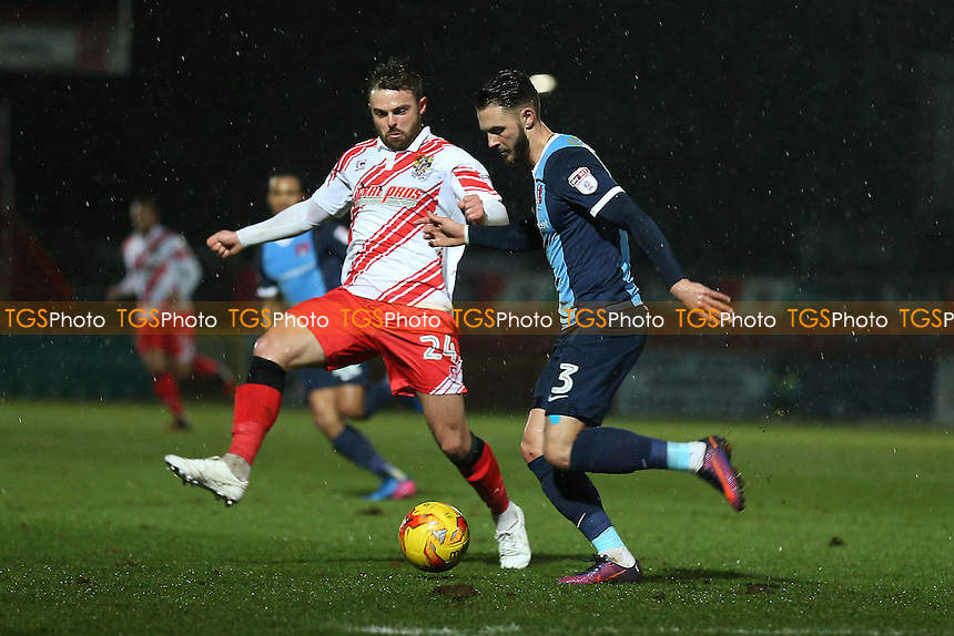 Callum Kennedy of Leyton Orient and Matthew Godden of Stevenage during Stevenage vs Leyton Orient, Sky Bet EFL League 2 Football at the Lamex Stadium on 28th February 2017