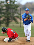 BROOKINGS, SD - MAY 4:  Al Robbins #21 from South Dakota State makes the throw to first to complete the double play as Clayton Taylor from Nebraska Omaha is out at second in the fourth inning Sunday afternoon at Erv Huether Field in Brookings. (Photo by Dave Eggen/Inertia)