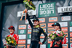 """Annemiek van Vleuten (NED) Mitchelton-Scott Women wins the 2019 Liège-Bastogne-Liège Femmes by 1'39"""" with Floortje Mackaij (NED) Team Sunweb Women 2nd and Demi Vollering (NED) Parkhotel Valkenburg in 3rd place, running 138.5km from Bastogne to Liege, Belgium. 28th April 2019<br /> Picture: ASO/Thomas Maheux 