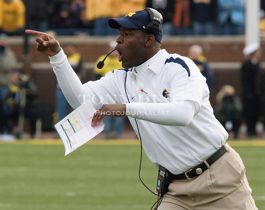 4 November 2006: Michigan first year defensive coordinator Ron English during No. 2 Michigan's 34-26 win over MAC opponent Ball State at Michigan Stadium in Ann Arbor, MI. This was the two school's first meeting on the football field and Michigan's last home game of the season. The Wolverines go on the road at Indiana next week and finish in Columbus to face the No. 1 Ohio State Buckeyes.