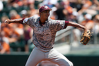 Texas A&M Aggies pitcher Rafael Pineda #55 delivers during the NCAA baseball game against the Texas Longhorns on April 29, 2012 at UFCU Disch-Falk Field in Austin, Texas. The Longhorns beat the Aggies 2-1 in the last ever regular season game scheduled for the long time rivals. (Andrew Woolley / Four Seam Images)
