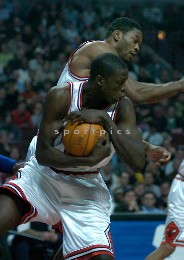 Luol Deng, of the Chicago Bulls in game action against the Detroit Pistons on Tyson Chandler..Bulls lost 80-87..Chris Bernacchi / SportPics