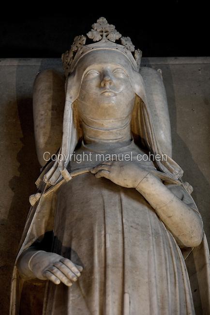 Gisant of Jeanne of Evreux (1307 - 1371), marble, circa 1327, Abbey church of Saint Denis, Seine Saint Denis, France. Picture by Manuel Cohen