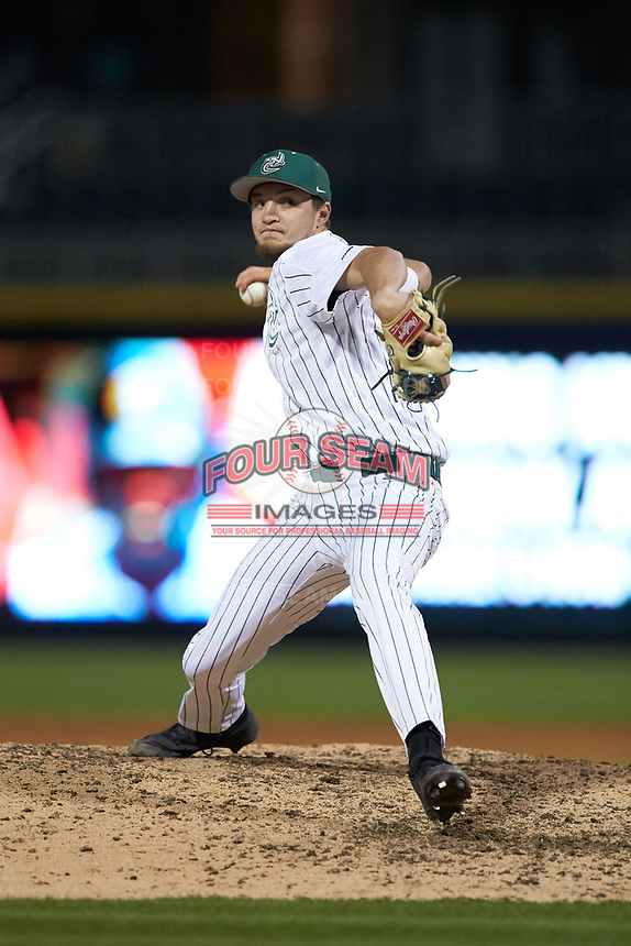 Charlotte 49ers relief pitcher Mason Herbert (13) in action against the Clemson Tigers at BB&T BallPark on March 26, 2019 in Charlotte, North Carolina. The Tigers defeated the 49ers 8-5. (Brian Westerholt/Four Seam Images)