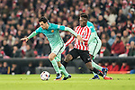 Sergio Busquets Burgos (l) of FC Barcelona fights for the ball with Inaki Williams Arthuer of Athletic Club during their Copa del Rey Round of 16 first leg match between Athletic Club and FC Barcelona at San Mames Stadium on 05 January 2017 in Bilbao, Spain. Photo by Victor Fraile / Power Sport Images