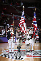 A color guard from the Lancaster-based Hocking Valley Chapter of the Sons of American Revolution presented the flags before Friday's NCAA Division I basketball game pitting the Ohio State Buckeyes against Army Black Knights at Value City Arena in Columbus on December 13, 2013. Pictured from left to right are Thomas Hankins, Paul Irwin, Car Roshong and Bob Davis. (Barbara J. Perenic/The Columbus Dispatch)