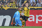 06.10.2018, Signal Iduna Park, Dortmund, GER, DFL, BL, Borussia Dortmund vs FC Augsburg, DFL regulations prohibit any use of photographs as image sequences and/or quasi-video<br /> <br /> im Bild Torschuetze 1:1 Paco Alcacer (#9, Borussia Dortmund) li. Marco Reus (#11, Borussia Dortmund) Jubel / Freude / Emotion / Torjubel / <br /> <br /> Foto &copy; nph/Horst Mauelshagen