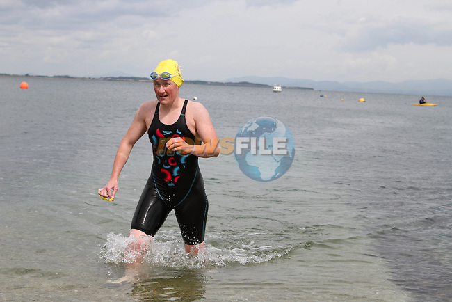"""Alison Cardwell, 2nd Place Ladies at the Clogherhead """"Round the Head Swim""""....(Photo credit should read Jenny Matthews/NEWSFILE)..."""