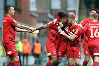 O's JOe Widdowson after he scores with capt Josh COulson(left) & Dale Gorman(right) during Leyton Orient vs Walsall, Sky Bet EFL League 2 Football at The Breyer Group Stadium on 12th October 2019