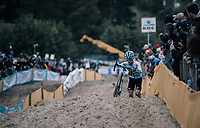 Eli Iserbyt (BEL/Marlux-Napoleon Games) leading the race early on<br /> <br /> U23 race<br /> <br /> UCI cyclocross World Cup Koksijde / Belgium 2017