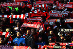 Sunlight catches the Liverpool scarves during the Premier League match at the Anfield Stadium, Liverpool. Picture date: November 26th, 2016. Pic Simon Bellis/Sportimage