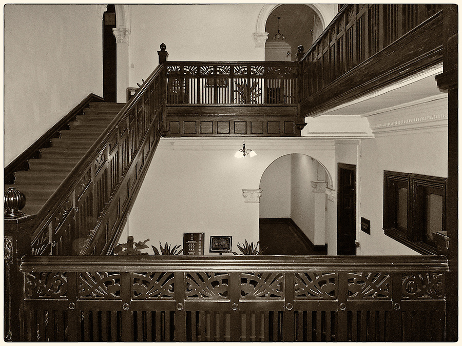 Central Internal Staircase, Staff Quarters & Club, Chinese Maritime Customs (1908), 2-6 Main Street, Shamian (Shameen) Island, Guangzhou (Canton).