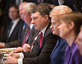 President Raimonds Vejonis of Latvia(c)  participates in a meeting with Dalia Grybauskaite of Lithuania(2nd right) participates and President Kersti Kaljulaid of Estonia(r),  and United States President Donald Trump at The White House in Washington, DC, April 3, 2018. <br /> Credit: Chris Kleponis / Pool via CNP
