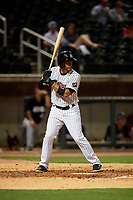 Birmingham Barons Ramon Torres (2) at bat during a Southern League game against the Chattanooga Lookouts on May 1, 2019 at Regions Field in Birmingham, Alabama.  Chattanooga defeated Birmingham 5-0.  (Mike Janes/Four Seam Images)