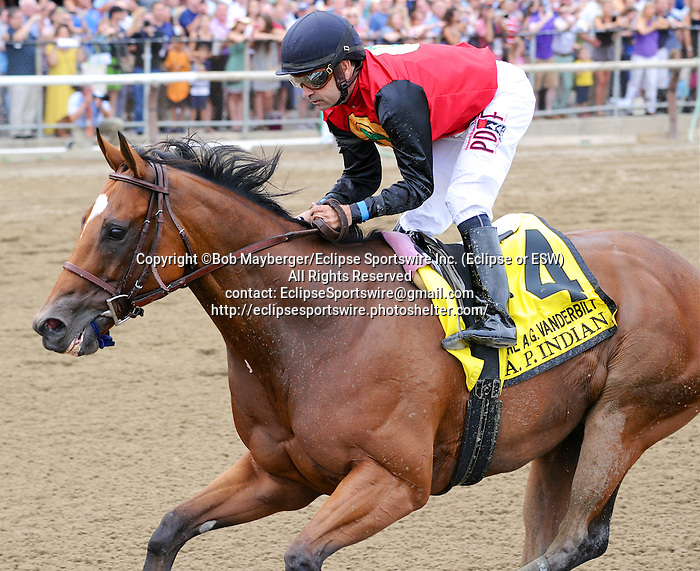 A.P. Indian (no. 4), ridden by Joe Bravo and trained by Arnaud Delacour, wins the 32nd running of the grade 1 Alfred G. Vanderbilt Handicap for three year olds and upward on July 30, 2016 at Saratoga Race Course in Saratoga Springs, New York. (Bob Mayberger/Eclipse Sportswire)