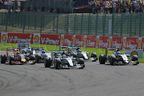 23.08.2015. Spa Francorchamps, Belgium. Formula One World Championship Grand Prix. Race day.  Mercedes AMG Petronas drivers Lewis Hamilton and Nico Rosberg stay in 1st and 2nd place as they make the start of the Belgium GP