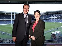 03 March 2016 - Edinburgh, Scotland - Prime Minister David Cameron poses for a photograph with Scottish Conservative leader Ruth Davidson at the Scottish Conservative conference at Murrayfield Stadium in Edinburgh, Scotland. Photo Credit: Alpha Press/AdMedia