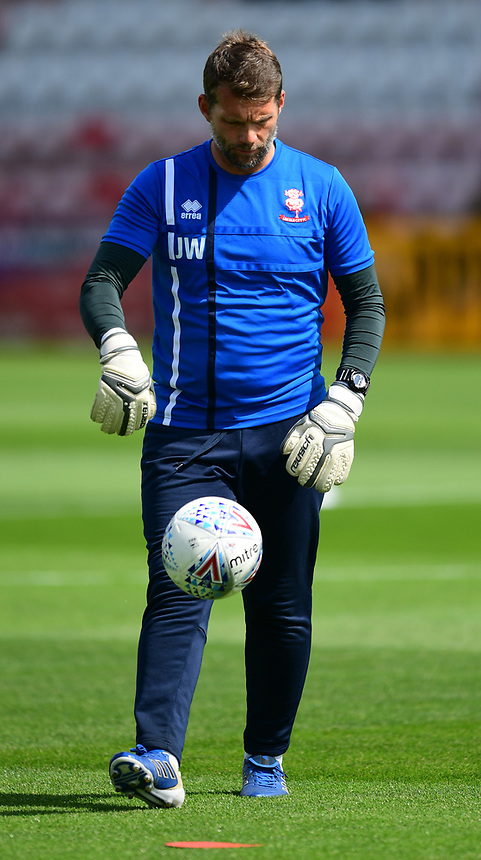 Lincoln City's goalkeeping coach Jimmy Walker during the pre-match warm-up <br /> <br /> Photographer Chris Vaughan/CameraSport<br /> <br /> The EFL Sky Bet League Two - Exeter City v Lincoln City - Saturday 19th August 2017 - St James Park - Exeter<br /> <br /> World Copyright &copy; 2017 CameraSport. All rights reserved. 43 Linden Ave. Countesthorpe. Leicester. England. LE8 5PG - Tel: +44 (0) 116 277 4147 - admin@camerasport.com - www.camerasport.com