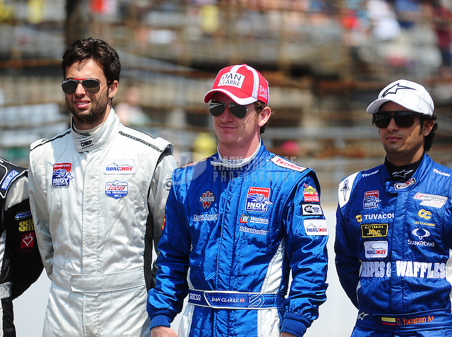 May 28, 2010; Indianapolis, IN, USA; Indy Light Series drivers Adrian Campos Jr. (left) Dan Clarke (center) and Gustavo Yacaman during the Freedom 100 at the Indianapolis Motor Speedway. Mandatory Credit: Mark J. Rebilas-
