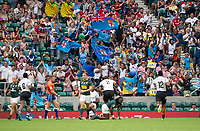 Twickenham, United Kingdom. 3rd June 2018, HSBC London Sevens Series. Game 45. Cup Final.  Fiji vs South Africa. <br /> <br /> The Fijian supporters, cheering, standing and waving, their flags-during the Rugby 7's, match played at the  RFU Stadium, Twickenham, England, <br /> <br /> <br /> <br /> &copy; Peter SPURRIER/Alamy Live News