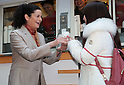 January 12, 2017, Tokyo, Japan - McDonald's Japan president Sarah Casanova (L) attends a promotional event for McDonald's new coffee and she distributes free samples to customers in Tokyo on Thursday, January 12, 2017. The hamburger restaurant chain will launch the new taste coffee at their restaurants from January 16.   (Photo by Yoshio Tsunoda/AFLO) LWX -ytd-