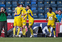 Mark Hughes of Accrington Stanley  celebrates his winning goal during the Sky Bet League 2 match between Wycombe Wanderers and Accrington Stanley at Adams Park, High Wycombe, England on the 30th April 2016. Photo by Liam McAvoy / PRiME Media Images.