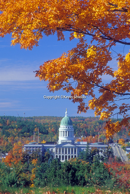 Fall view of the Maine State House in Augusta, Maine, USA