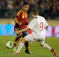 Spain's THiago Alcantara (l) and Norway's Svensson during international sub21 match.March 21,2013. (ALTERPHOTOS/Acero) /NortePhoto