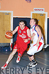 Declan Wall (Team Garvey's) in action with Kyle Hosford (Blue Demons) in the Division One Men's National League Basketball, on saturday evening at castleisland Community Centre.