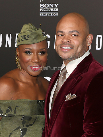 "WESTWOOD, CA - February 28: Aisha Hinds, Anthony Hemingway, At Premiere Of WGN America's ""Underground"" Season 2, At The Regency Village Theatre In California on February 28, 2017. Credit: Faye Sadou/MediaPunch"