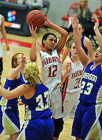 NWA Democrat-Gazette/MICHAEL WOODS &bull; @NWAMICHAELW<br /> Kayla Brown (12) Farmington forward, is fouled as she tries to drive to the hoop past Harrison defenders Briley Due (33) and Emily Harp (23) Tuesday January 12, 2016 during their game at Cardinal Arena in Farmington.