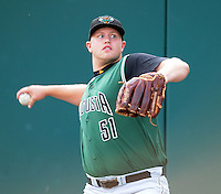 Pitcher Seth Rosin (51) of the Augusta GreenJackets, Class A affiliate of the San Francisco Giants, prior to a game against the Greenville Drive on August 27, 2011, at Fluor Field at the West End in Greenville, South Carolina. Greenville defeated Augusta, 10-4. (Tom Priddy/Four Seam Images)