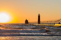 64795-01118 Grand Haven South Pier Lighthouse at sunset on Lake Michigan, Ottawa County, Grand Haven, MI
