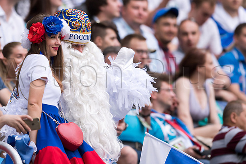 17th June 2017, St Petersburg, Russia; FIFA 2017 Confederations Cup football, Russia versus New Zealand; Group A - Saint Petersburg Stadium,  Two Russian fans pose for a photo before the Confederations Cup Group A soccer match between Russia and New Zealand at the stadium in Saint Petersburg, Russia, 17 June 2017.