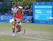 June 16th 2017, Nottingham, England; WTA Aegon Nottingham Open Tennis Tournament day 5;  Kristie Ahn of USA reaches a low backhand