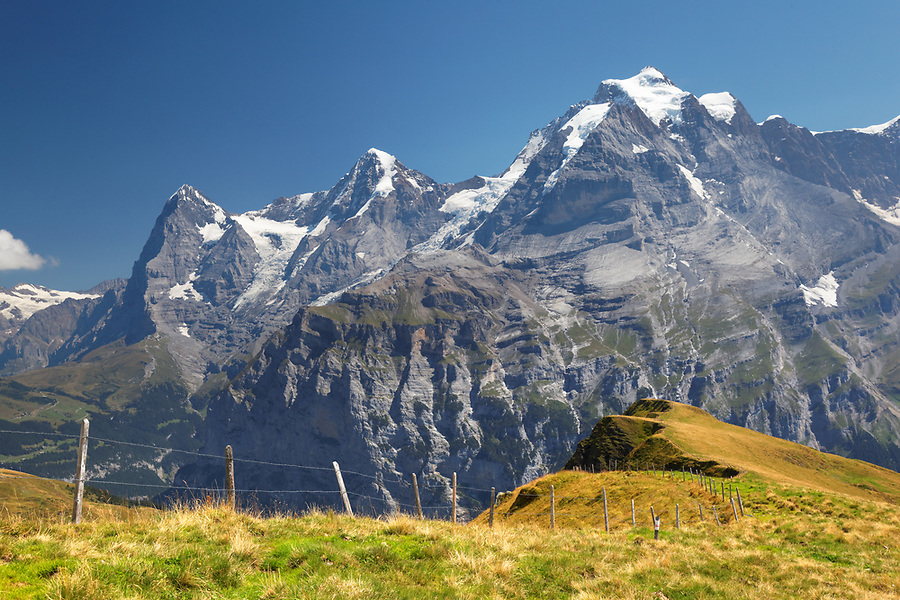 Wasenegg ridge on Schilthorn mountain, Eiger, Mönch and Jungfrau in background, Switzerland