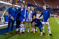 HOUSTON, TX - FEBRUARY 03: Adrianna Franch #12, Andi Sullivan #6, Lynn Williams #13, Rose Lavelle #16, Kelley O'Hara #5, Megan Rapinoe #15 and Becky Sauerbrunn #4 of the United States pose on the bench during a game between Costa Rica and USWNT at BBVA Stadium on February 03, 2020 in Houston, Texas.