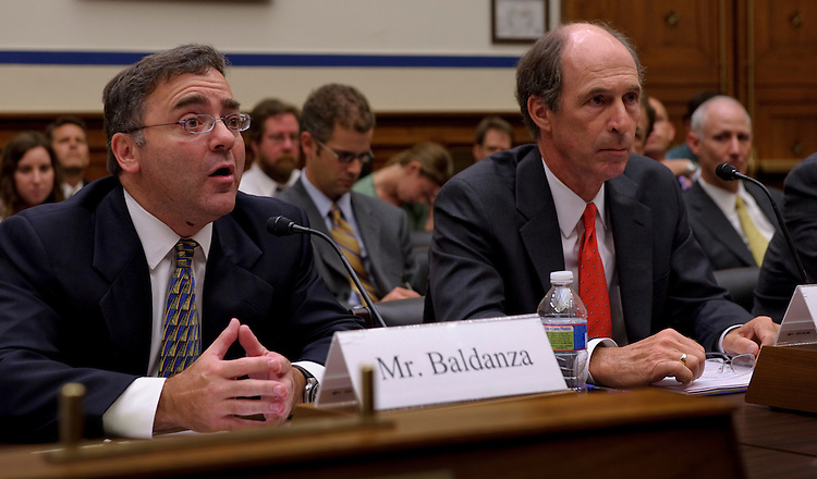 WASHINGTON, DC - July 14: Ben Baldanza, president and CEO of Spirit Airlines Inc.; and Dave Ridley, senior vice president for marketing and revenue management at Southwest Airlines; during the House Transportation Subcommittee on Aviation hearing on airline fees. (Photo by Scott J. Ferrell/Congressional Quarterly)