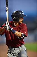 Mahoning Valley Scrappers shortstop Tyler Freeman (7) on deck during a game against the Williamsport Crosscutters on August 28, 2018 at BB&T Ballpark in Williamsport, Pennsylvania.  Williamsport defeated Mahoning Valley 8-0.  (Mike Janes/Four Seam Images)