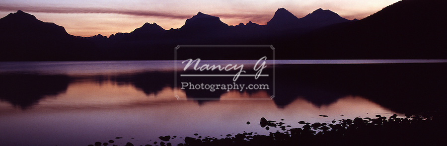 Sunrise over Mountains in Glacier National Park