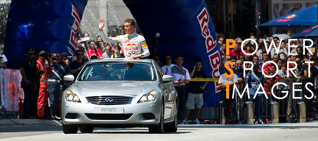 David Coulthard in action during the Red Bull Speed Street Kuala Lumpur, at the main shopping street Jalan Buit Bintang in Kuala Lumpur, Malaysia on 3rd April 2011. Photo by Victor Fraile / The Power of Sport Images for Red Bull