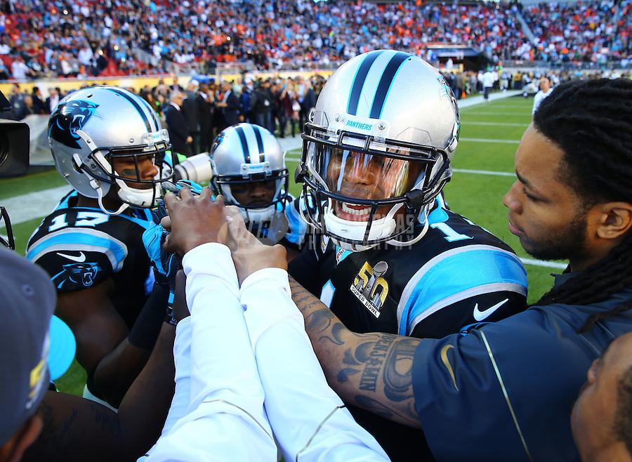 Feb 7, 2016; Santa Clara, CA, USA; Carolina Panthers quarterback Cam Newton (1) in the huddle with teammates against the Denver Broncos during Super Bowl 50 at Levi's Stadium. Mandatory Credit: Mark J. Rebilas-USA TODAY Sports