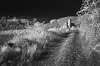 Infra Red Black & White view of St. Antimo Abbey near Montalcino, Italy, Tuscany