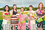 BEST DRESSED LADIES: Anna Curtin of Radio Kerry presenting cheque to Christina Buckley winner of the Best Dressed Lady with the other finalist at the Race of Champions at the Kingdom Greyhound Stadium on Friday l-r: Evelyn Breen, Sneem, Anna Curtin (Radio Kerry), Christina Buckley, Abbeydorney, Liz McDaid, Tralee and Kate Slattery, Kilorglin.